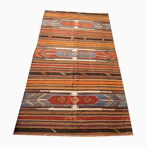 Vintage Turkish Striped Wool Kilim Rug, 1960s