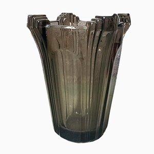 Jarrón Art Déco modernista de vidrio marrón, años 30