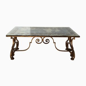 French Gilt Wrought Iron Coffee Table with Decorated Eglomise Mirror Glass Top, 1940s