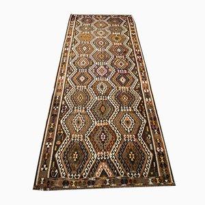 Alfombra de pasillo turca vintage de lana, años 50
