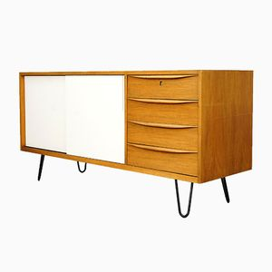 Walnut Sideboard with White Sliding Doors, 1960s