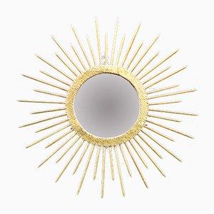 Mid-Century Spiegel mit Rahmen in Sonnen-Optik