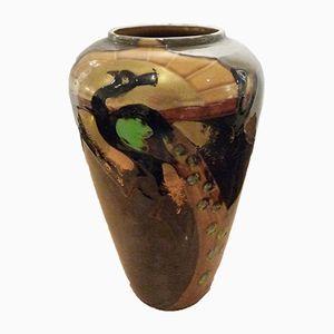 Vaso Art Nouveau con pavone di Thomas Forester & Son, fine XIX secolo