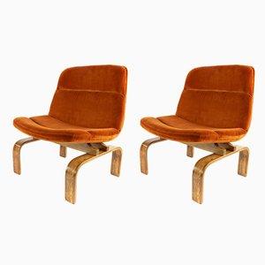 Moderne Mid-Century Modell 28 Armlehnstühle mit Gestell aus Eiche & Samtbezug von AG Barcelona, 1960er, 2er Set