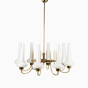 Italian Opaline Glass & Brass 8-Arm Chandelier, 1960s