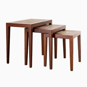 Ceramic & Rosewood Nesting Tables by Severin Hansen for Haslev Møbelsnedkeri, 1970s