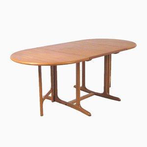 Vintage Scandinavian Extendable Solid Teak Dining Table