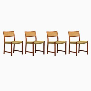 Vintage Rosewood & Rattan Dining Chairs, 1950s, Set of 4