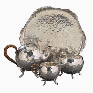 Set da caffè vintage in argento Sterling martellato, anni '30