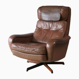 Mid-Century Danish Leather Swivel Lounge Chair