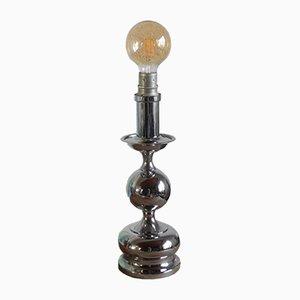 Lámpara de mesa era espacial de metal cromado, años 70