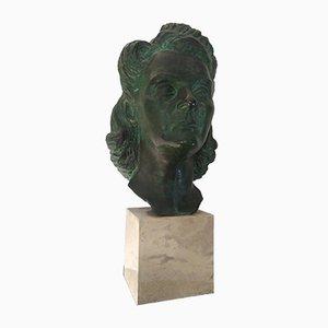 Sculpture de Tête de Femme par Tommaso Bertolino, 1938
