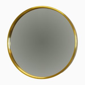Vintage Scandinavian Modern Brass Round Wall Mirror from Glasmäster