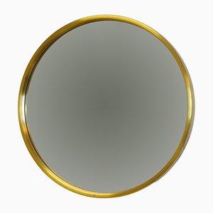 Vintage Scandinavian Modern Brass Round Wall Mirror from Glasmäster