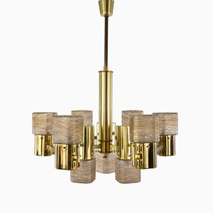 Golden Ceiling Lamp by Gaetano Sciolari, 1960s