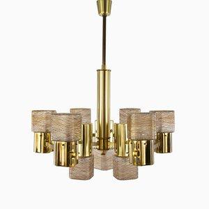 Lámpara de techo dorada de Gaetano Sciolari, años 60