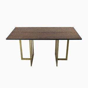 Vintage Tisch aus Messing & Nussholzwurzel von Jean Claude Mahey, 1970er
