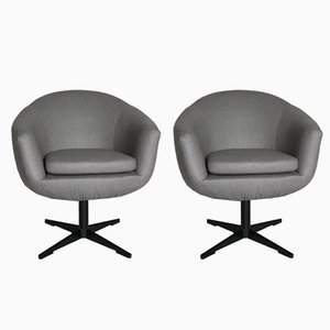 Vintage Grey Swivel Armchairs, 1970s, Set of 2