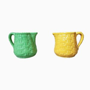 Vintage Barbotine Jugs from Digoin Sarreguemines, Set of 2