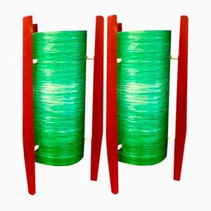 Vintage Green Rocket Table Lamps, Set of 2