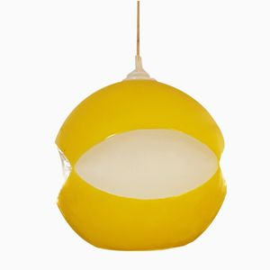 French Yellow and White Glass Light, 1960s