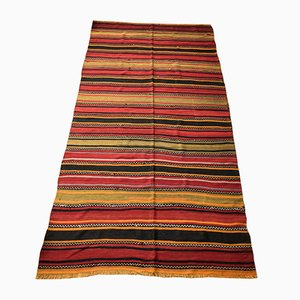 Kilim turco Mid-Century de lana a rayas, años 60
