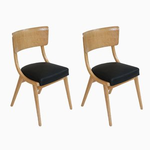 Vintage Black Leather Chairs, 1970s, Set of 2