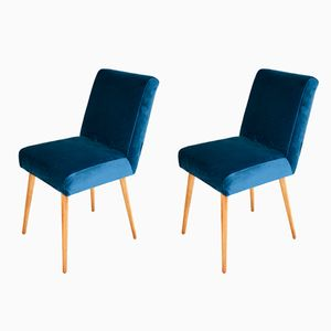 Vintage Blue Marine Velvet Chairs, 1970s, Set of 2