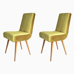 Vintage Yellow Velvet Chairs, 1970s, Set of 2