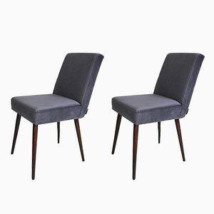 Vintage Grey Velvet Chairs, 1970s, Set of 2