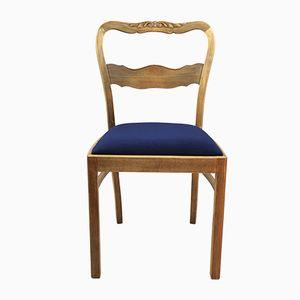 Art Deco Blue Velvet Chairs, 1960s, Set of 2