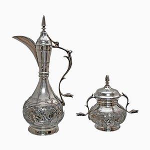 Servicio de té italiano de plata con motivos egipcios de Castaudi & Gautero, años 40