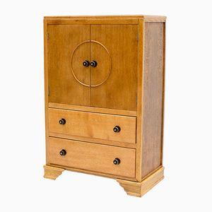 Vintage Art Deco Oak Tallboy Cabinet