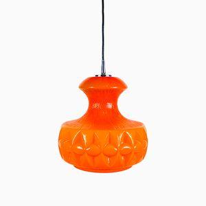 Lámpara colgante de vidrio naranja de Peill and Putzler, años 70