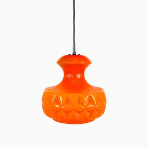 Orange Glass Pendant Lamp from Peill and Putzler, 1970s