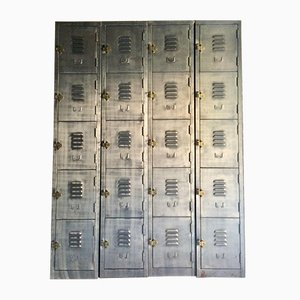 Vintage Industrial Steel Lockers, Set of 2