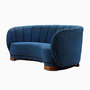 Danish Curved Three-Seater Sofa, 1940s
