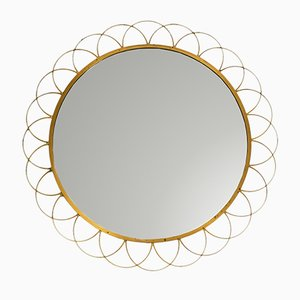 Large Italian Brass Wall Mirror, 1960s