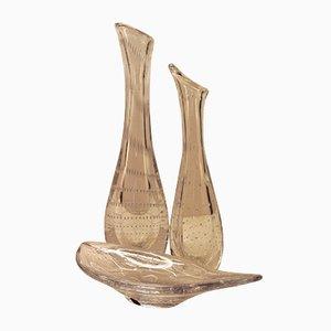 Fuente y dos jarrones de vidrio de Vicke Lindstrand para Kosta, años 50