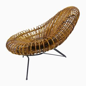 Sculptural Rattan Lounge Chair by Franco Albini, 1960s