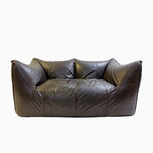 Dark Brown Leather Bambole Sofa by Mario Bellini for B&B Italia, 1970s