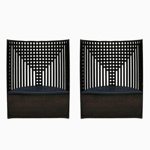 Italian Black Model Willow Ash Armchairs by Charles Rennie Mackintosh, 1970s, Set of 2