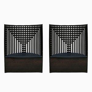 Schwarze italienische Modell Willow Armlehnstühle aus Eschenholz von Charles Rennie Mackintosh, 1970er, 2er Set