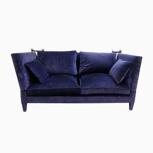 Vintage Midnight Blue Velvet Sofa