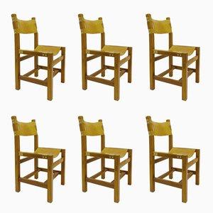Chaises en Orme et Cuir par Maison Regain, 1960s, Set de 6
