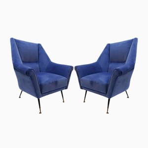Velvet Italian Armchairs, 1960s, Set of 2