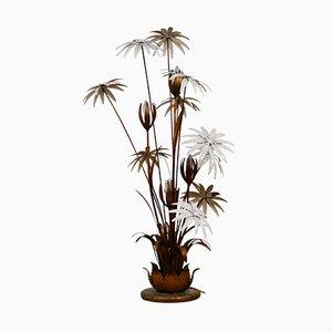 Lámpara de pie con flores doradas de Hans Kögl, años 70