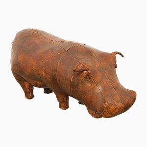 Leather Hippo Footstool by Dimitri Omersa for Abercrombie & Fitch, 1960s