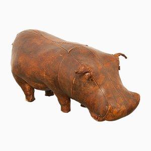 Sgabello Hippo in pelle di Dimitri Omersa per Abercrombie & Fitch, anni '60