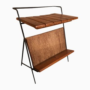 Mesa auxiliar de madera, hierro y mimbre de Arthur Umanoff, años 50